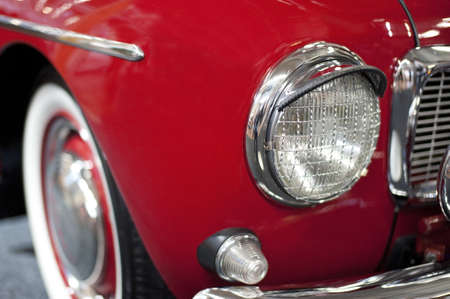 Close up of classic red vintage car headlight Stock Photo - 15450322