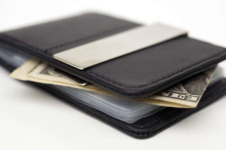 Close up of leather wallet with money Stock Photo - 15449995
