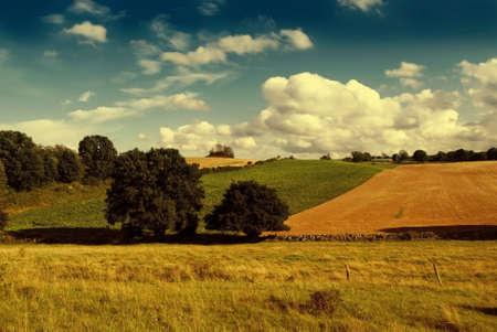 Farm fields with magical summer sky Stock Photo - 15982944