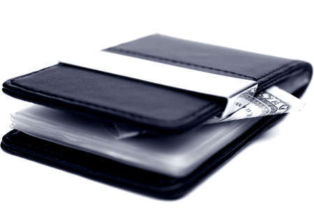 Close up of leather wallet with money Stock Photo - 15982876