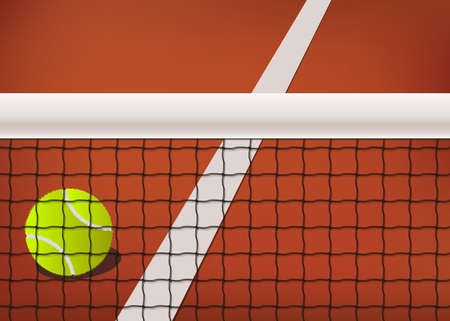 tennis net: Tennis background, clay court with ball, net and line