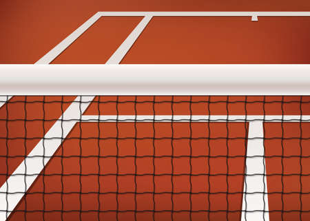 tennis net: Tennis background, clay court with net and line