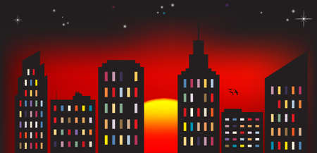 cityview: Vector illustration of cityscape at dawn