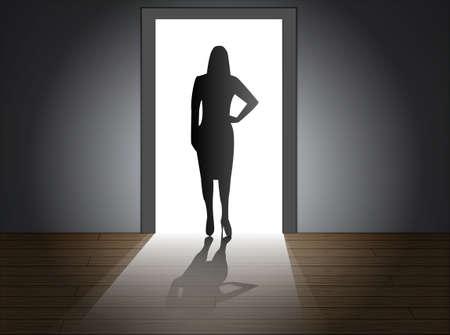 portone: Luce splende attraverso la porta, eps10 Vettoriali