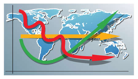 3D graph with positive, negative and stagnant arrows over the world map Vector