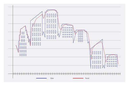 Graph of the housing market, showing negative trend Stock Vector - 17766215