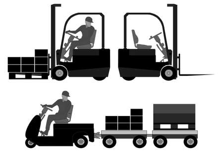 fork lifts trucks: Logistics equipment  Graphic elements with operator, forklift, towing truck, boxes and pallets  Illustration