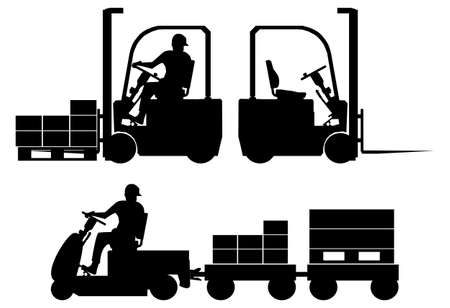 Silhouettes of tow tractor and forklift with operator Illustration