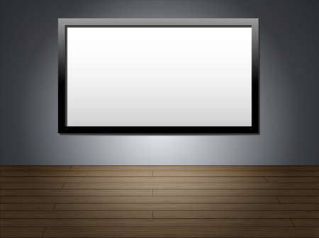 Empty room with HD TV at the wall Stock Vector - 17766245