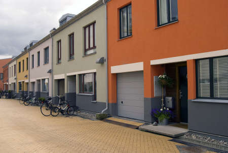 row of houses: Exclusive street with modern colorful houses