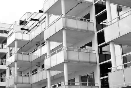property development: Modern and newly built facade with balconies Stock Photo