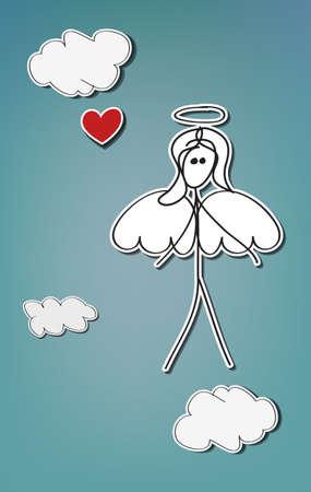 bonhomme allumette: Hand-drawn femme bâton, ange avec coeur rouge Illustration