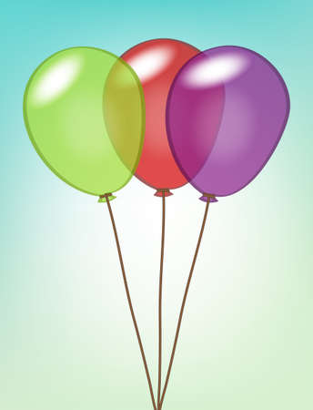 Colorful cartoon balloons attached with strings Stock Vector - 18496244