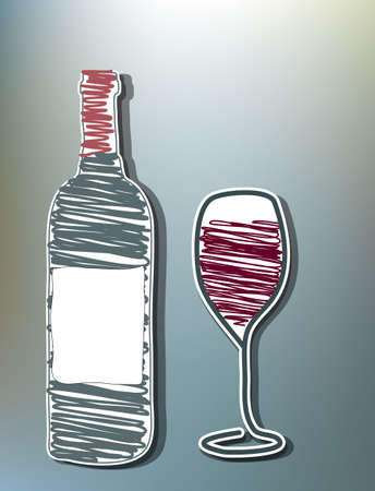 Hand drawn wine bottle and glass