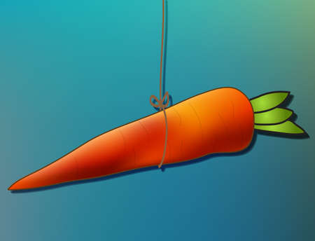 lure: Hand drawn carrot hanging in string, conceptual image, dangling a carrot