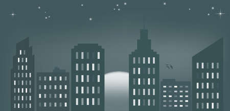 city by night: illustration of cityscape at dawn