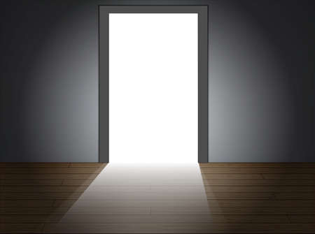 dark room: Light shines brightly through the doorway Illustration