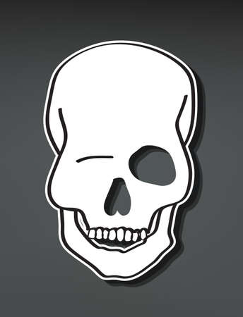 flirty: Hand Drawn smiling skull with 3d depth, illustration