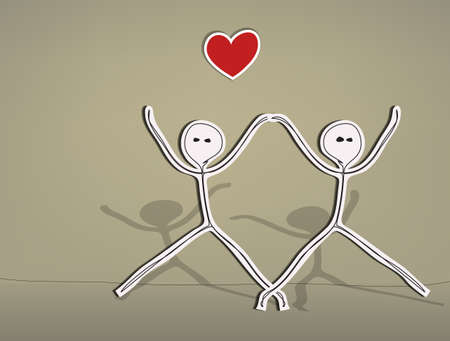 male figure: Hand drawn stick figures, happy lovers