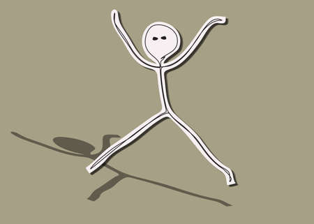 Happy jumping man, Hand drawn stick man Stock Vector - 18495912