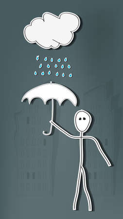 Hand drawn stick man with umbrella in rain Vector