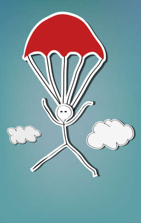 Handpainted stick man skydiving with red parachute Vector