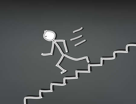 Hand-drawn stick man running down stairs Vector