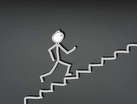 Hand-drawn stick man running up stairs