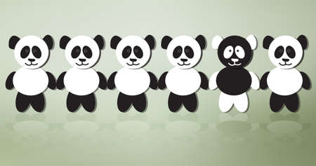 Panda bears on line  One of a crowd standing out from the rest, conceptual illustration Vector