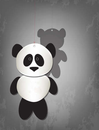 Cute lonely panda hanging in red string, grunge background Vector