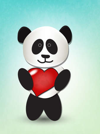 Cute panda hugging big red heart Vector