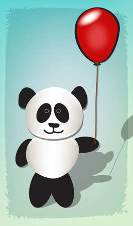 Happy panda celebrating with red balloon Vector