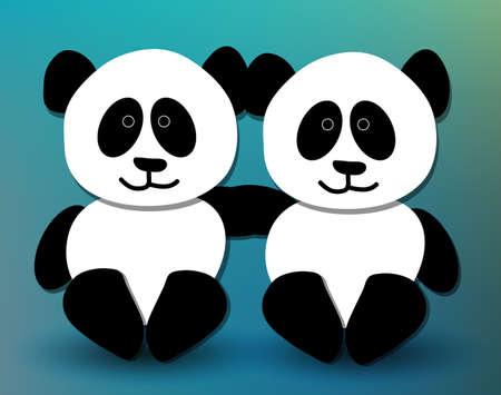 endangered: Cute panda pals hugging and smiling
