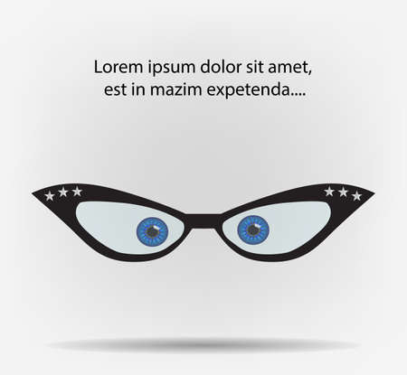 eyewear: Eyes looking through vintage eyewear, copy space for your text