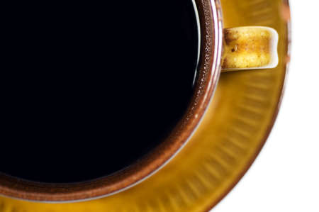 Close up of retro cup with coffee, isolated on white, top view Stock Photo - 19497353