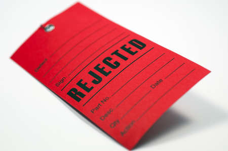 unaccepted: Close up of red rejected form  Stock Photo
