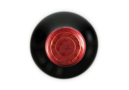 bouteille de vin: Gros plan sur une bouteille de vin avec copie espace sur le li�ge, vue de dessus Banque d'images