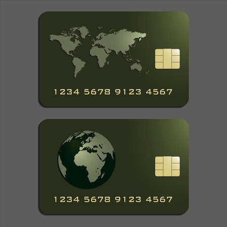 plastic card: Elegant credit cards in green and gold, illustration