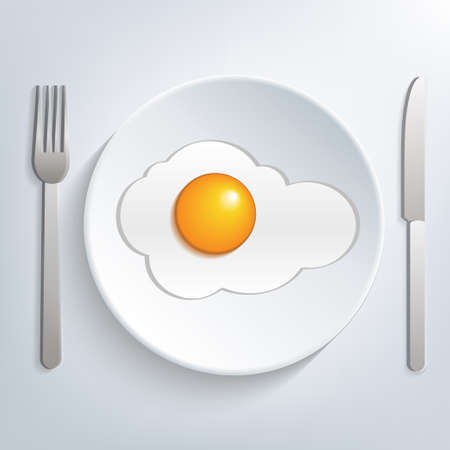 Plate with fried egg Vector