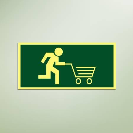 Stok figuur draait met kar, zoals een evacuatie teken, Conceptueel