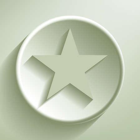 stardom: Green line circle icon, illustration Illustration