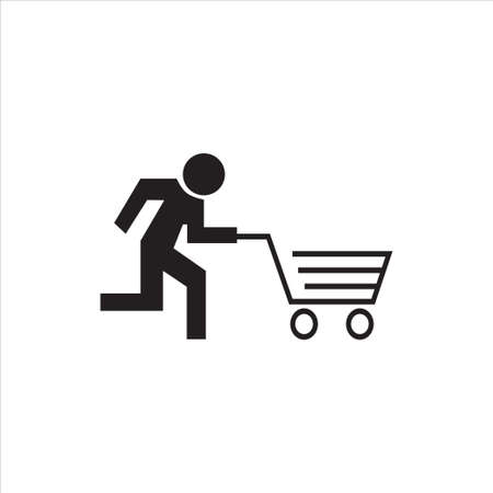 Stick figure running with cart, like an evacuation sign, Conceptual