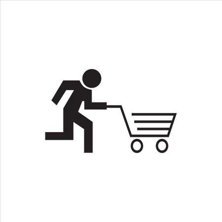 evacuatie: Stok figuur draait met kar, zoals een evacuatie teken, Conceptueel