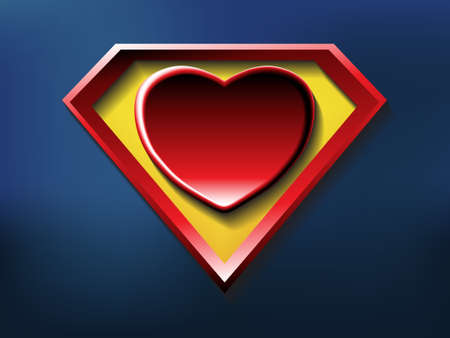 heroic: a big red heart shaped like a superhero shield, symbol for strong love