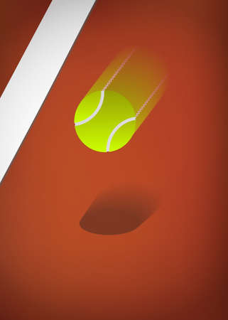red clay: Tennis background, clay court with blurry ball