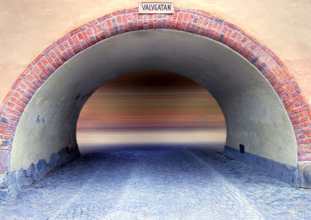Old tunnel with motion blur in the end photo
