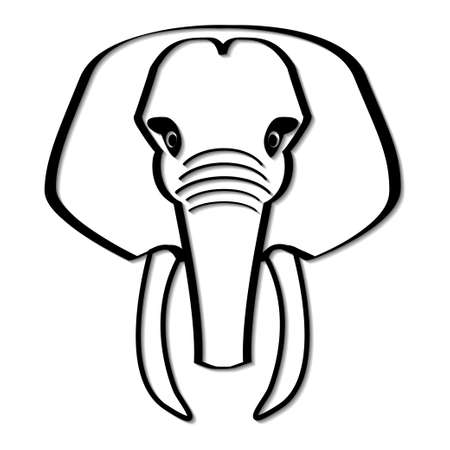 Elephant head in black and white, simplified vector illustration
