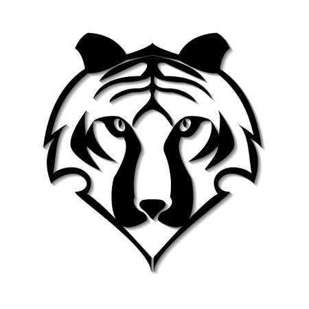 bengal: Tiger face in black and white, simplified vector illustration with depth Illustration