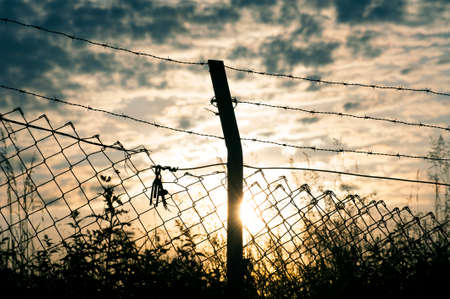 barbwire: Close-up on a pole with barbed wire, sunset in background