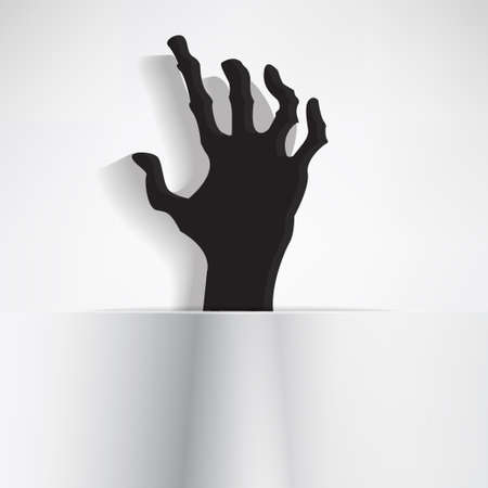 grabbing: Scary hand with curled fingers grabbing